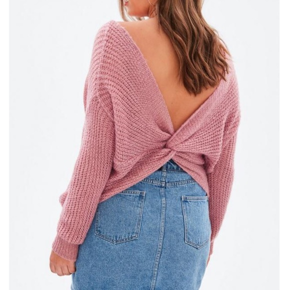 Missguided Fluffy Yarn Twist Back Sweater  NWT  4b13c2d80